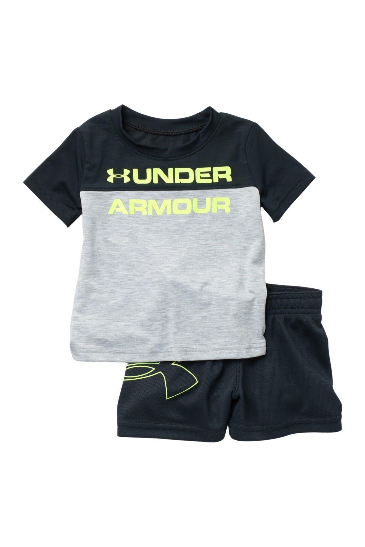 Under Armour Colorblock Tee & Mesh Shorts Set