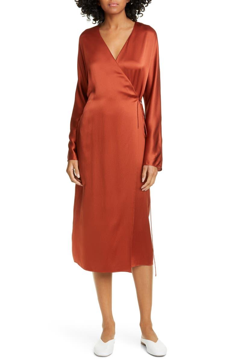VINCE Long Sleeve Silk Wrap Dress, Main, color, BRICK