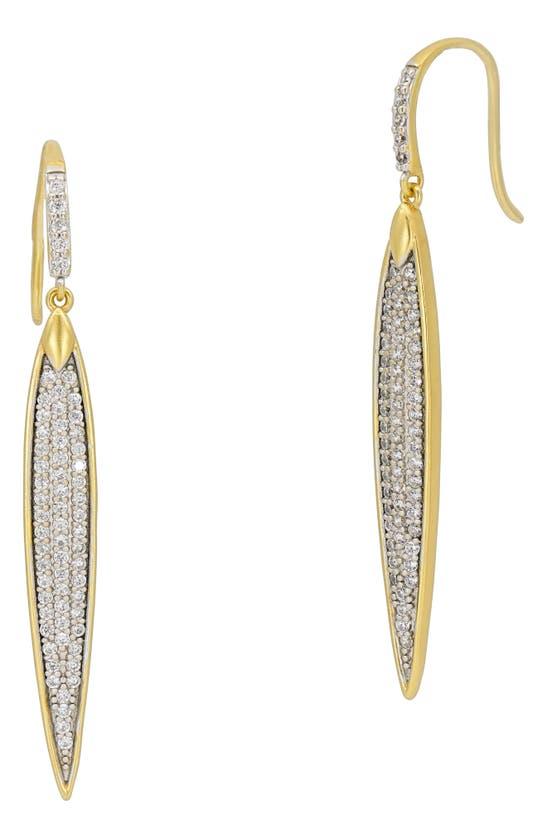 Freida Rothman Earrings PETALS & PAVE LINEAR DROP EARRINGS
