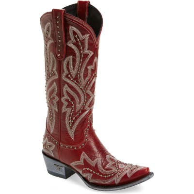 Lane Boots Saratoga Stud Western Boot- Red