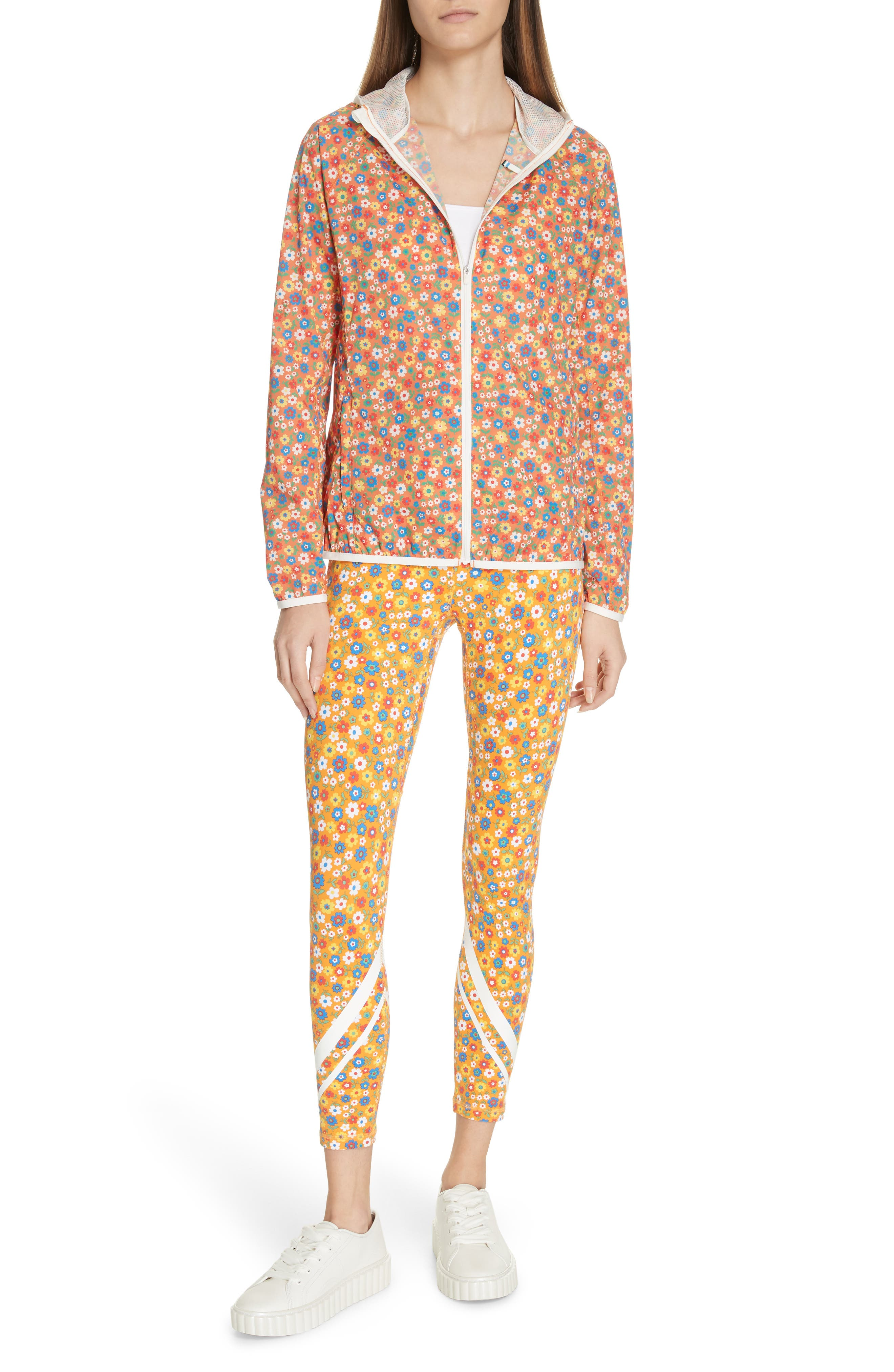 ,                             Floral Print Chevron 7/8 Leggings,                             Alternate thumbnail 8, color,                             RITZY FLORAL VIBRANT ORANGE