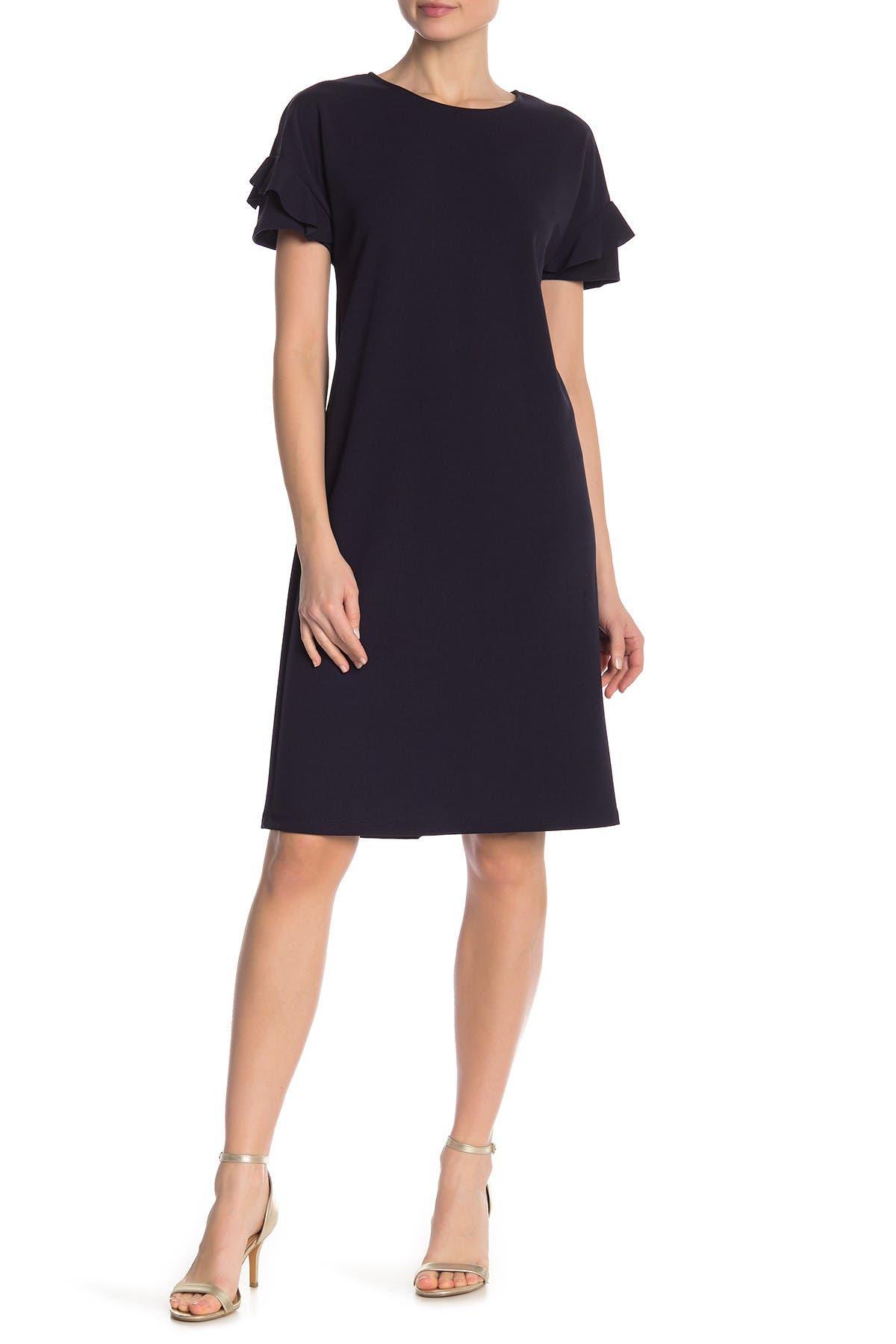 Image of TASH + SOPHIE Drop Shoulder Layered Sleeve Shift Dress