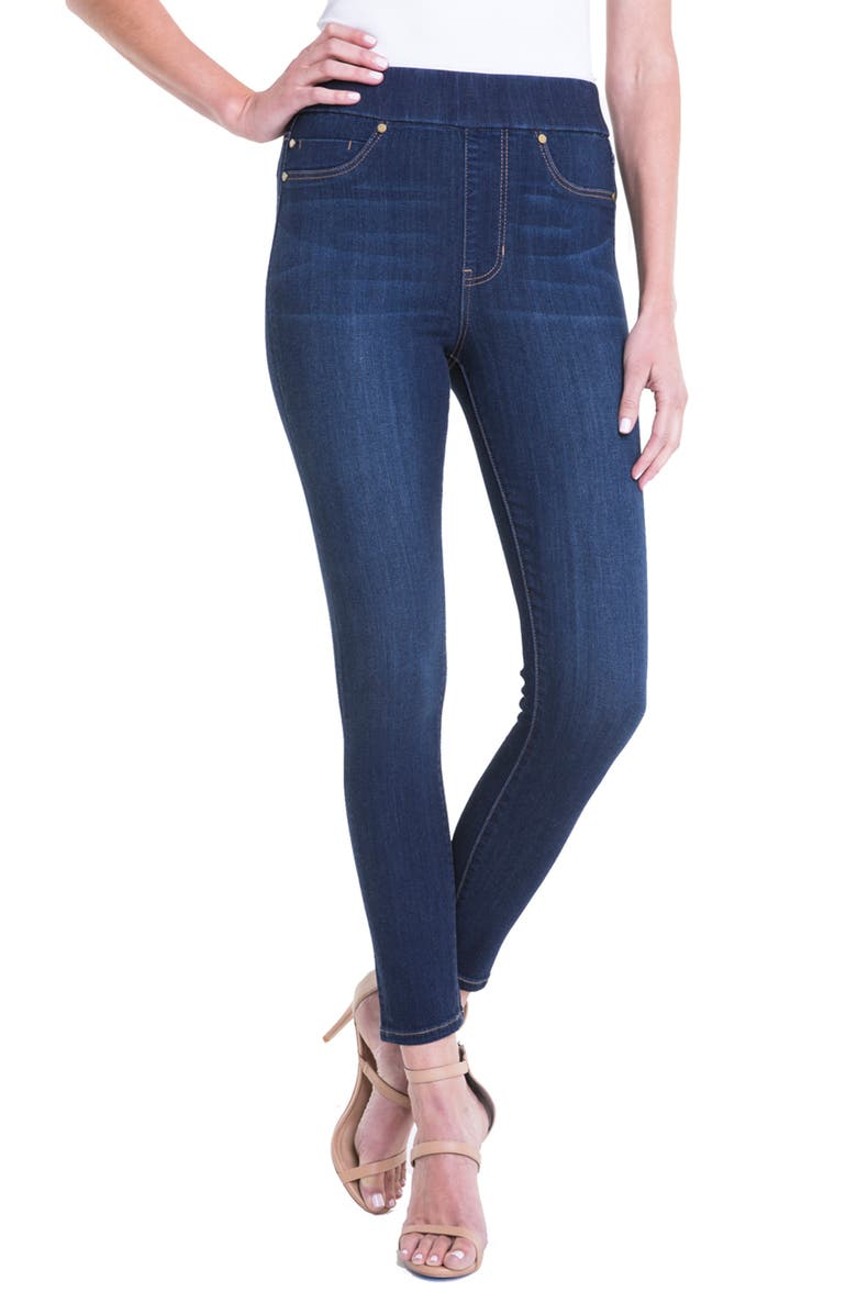 LIVERPOOL Farrah Pull-On Skinny Ankle Jeans, Main, color, GRIFFITH SUPER DARK