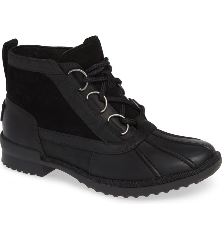 UGG<SUP>®</SUP> Heather Waterproof Lace-Up Bootie, Main, color, BLACK LEATHER