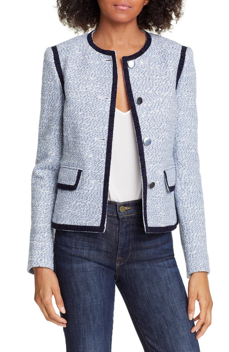 HELENE BERMAN Braid Trim Cotton Blend Tweed Jacket, Main, color, 400