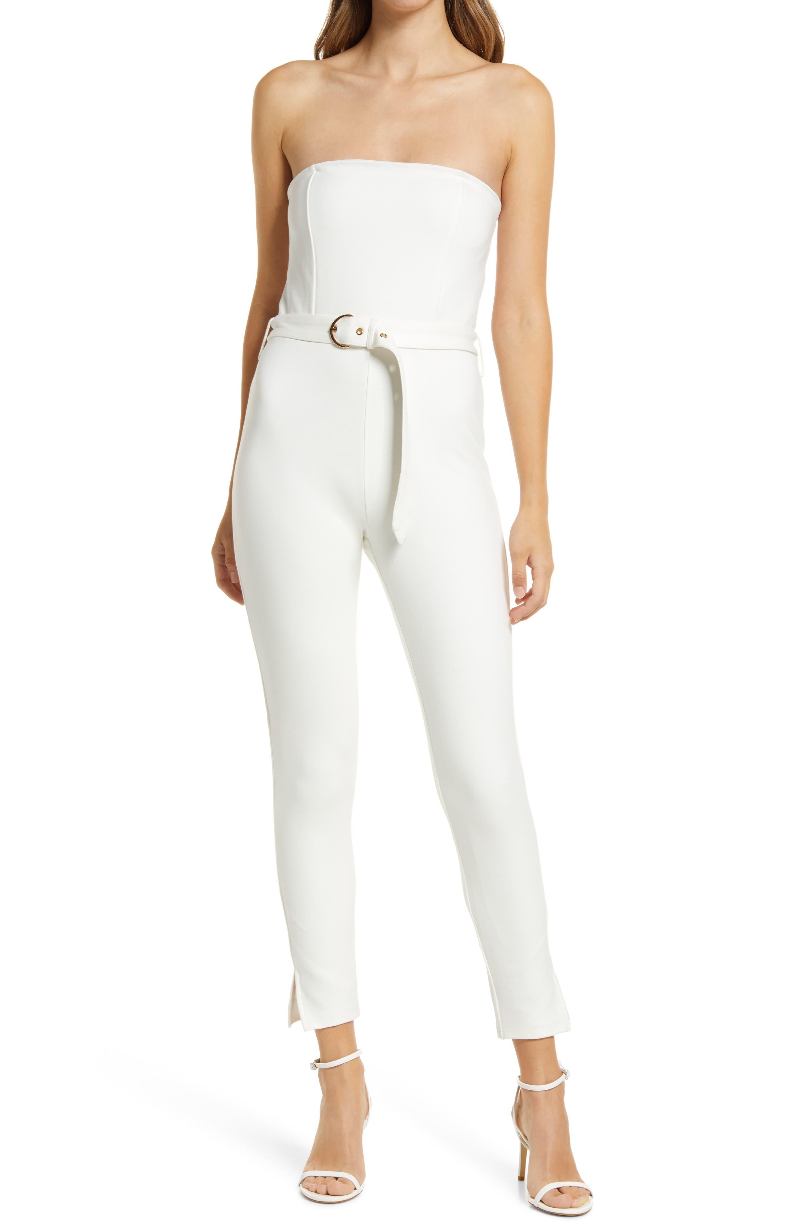 Ponte Knit Strapless Belted Jumpsuit