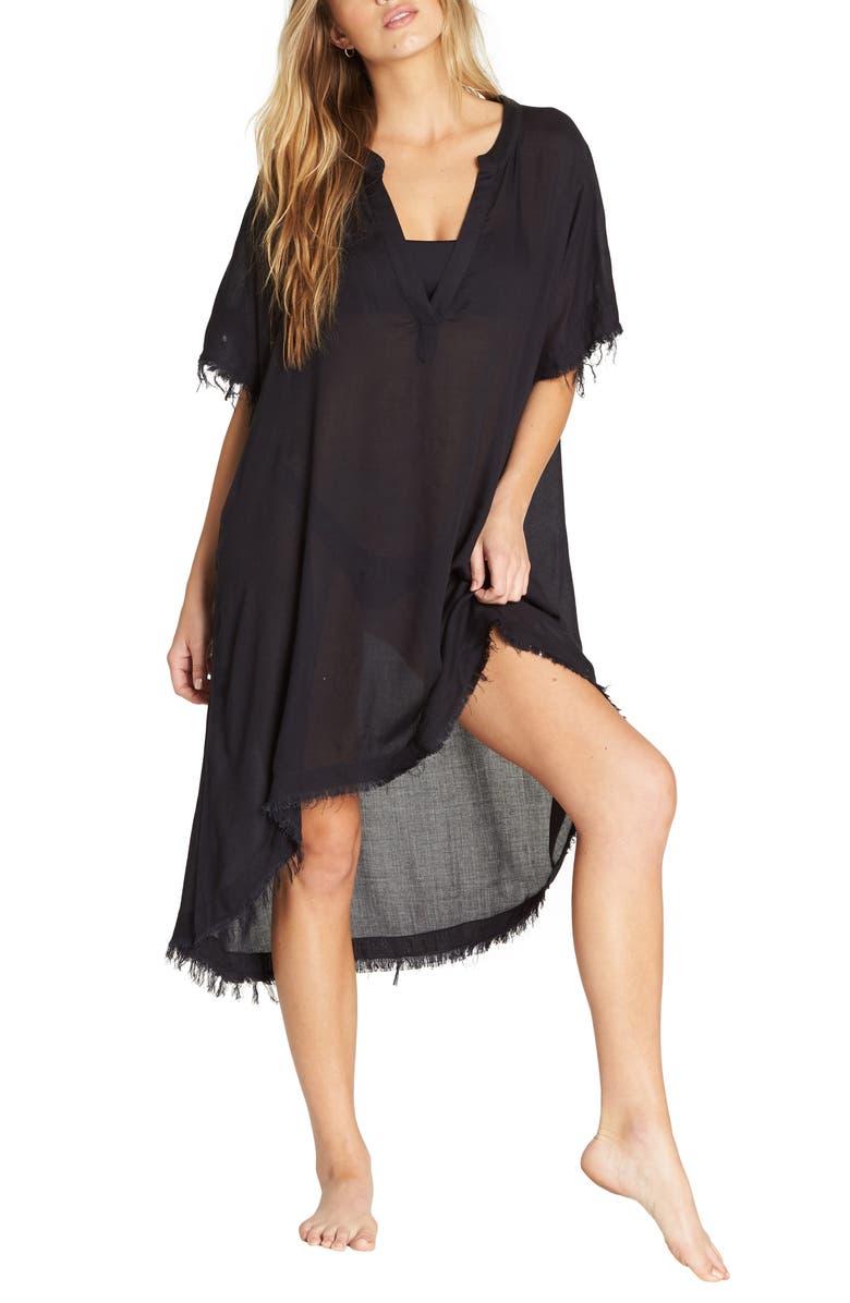 BILLABONG Found Love Cover-Up Dress, Main, color, BLACK PEBBLE