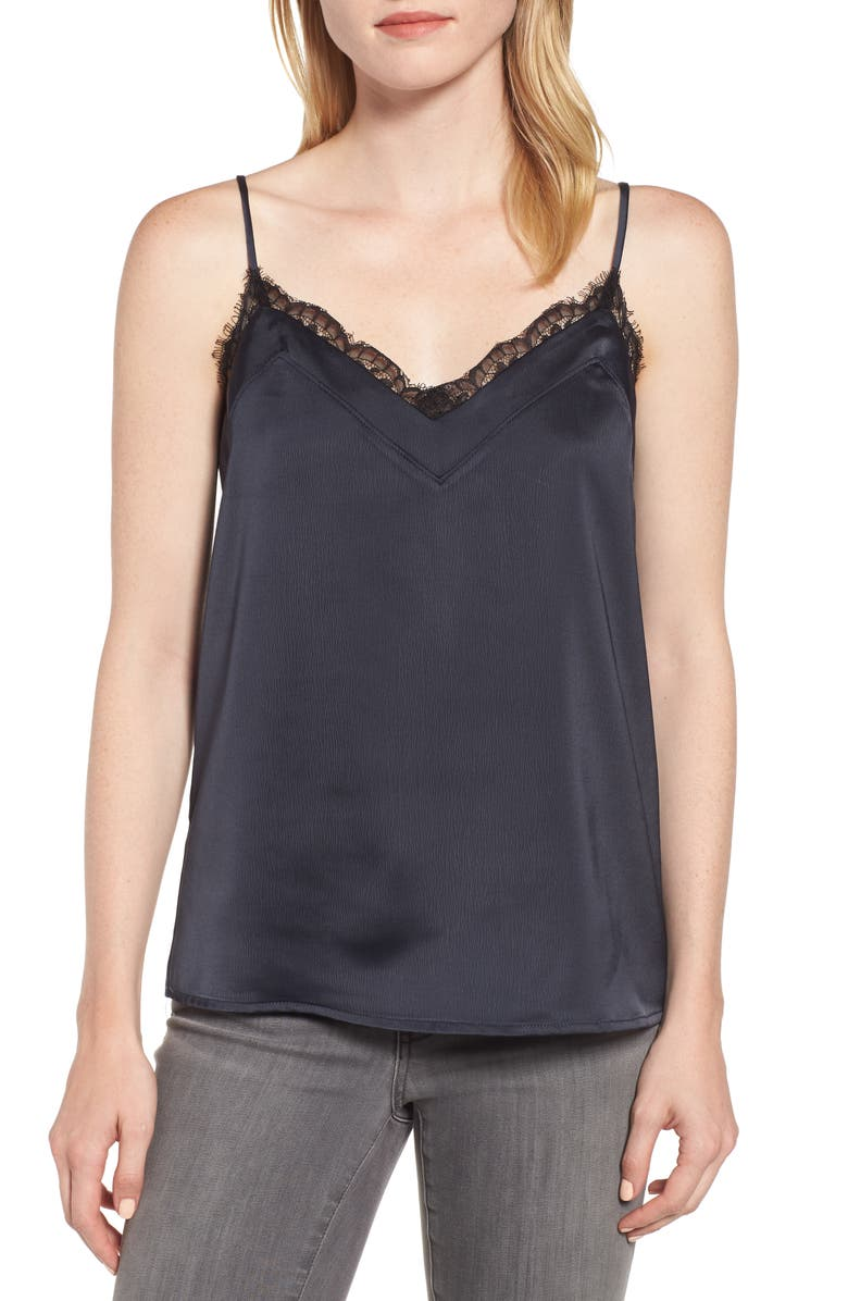 GIBSON Lace Trim Camisole, Main, color, BLACK
