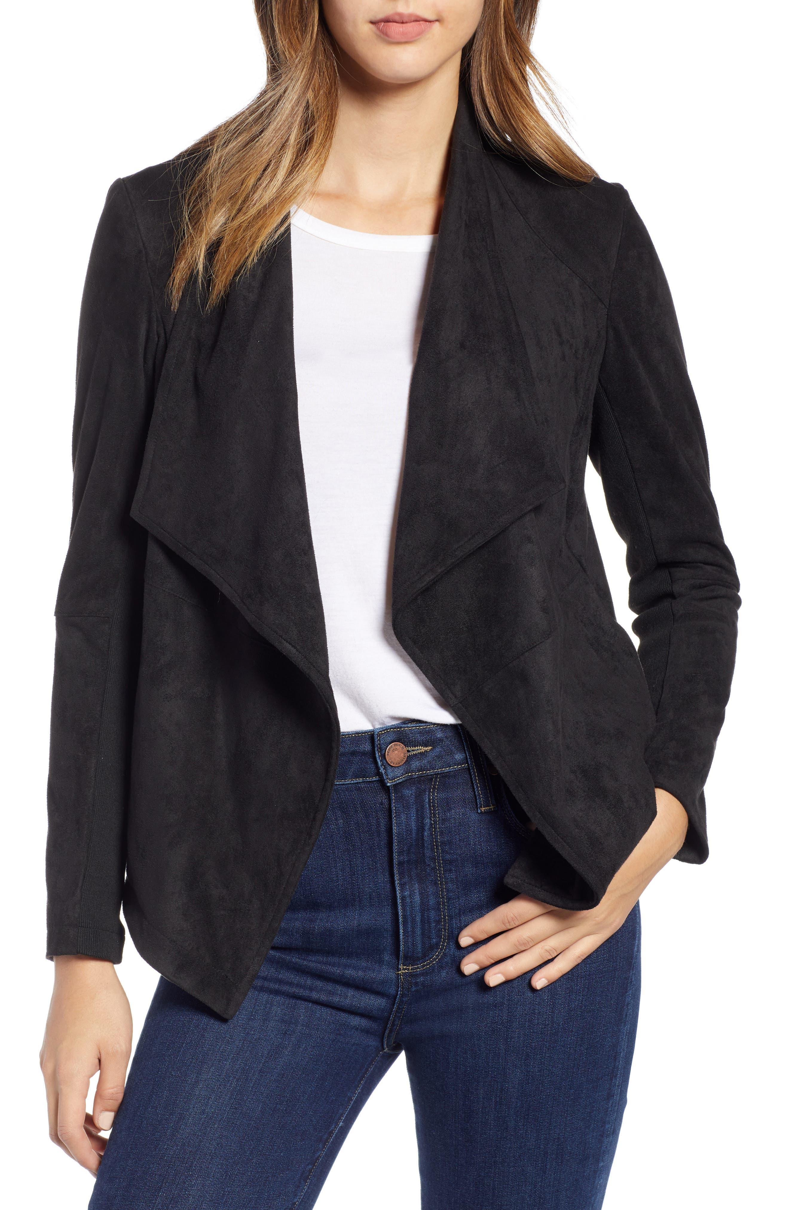 Nicholson Faux Suede Drape Front Jacket, Main, color, 001