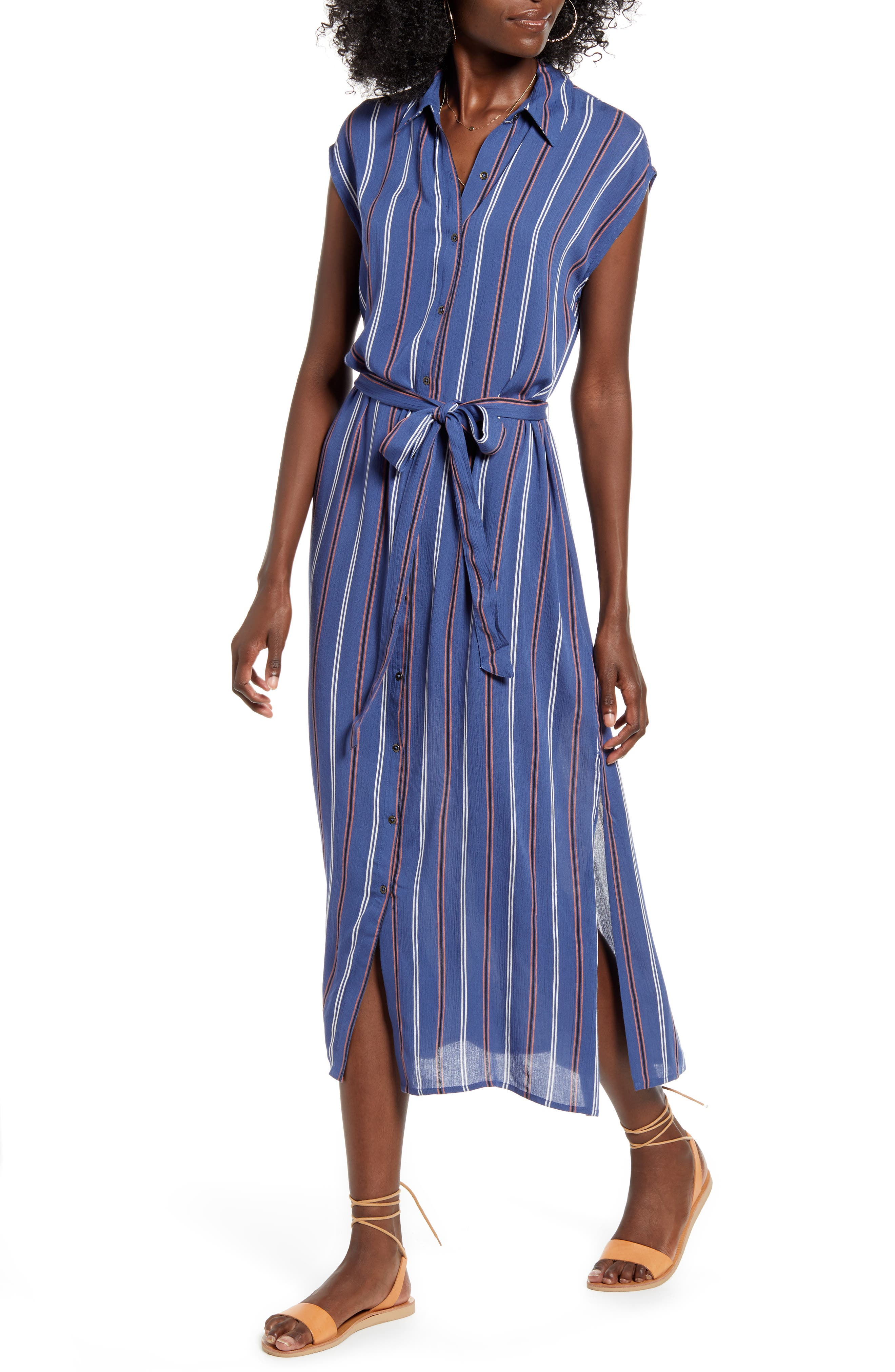 Billabong Little Flirt Print Midi Dress, Blue