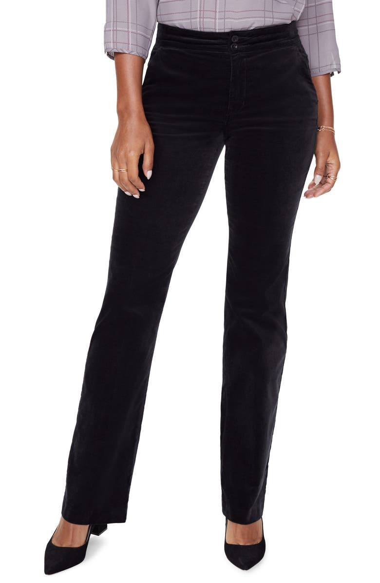 NYDJ High Waist Stretch Velveteen Pants, Main, color, BLACK