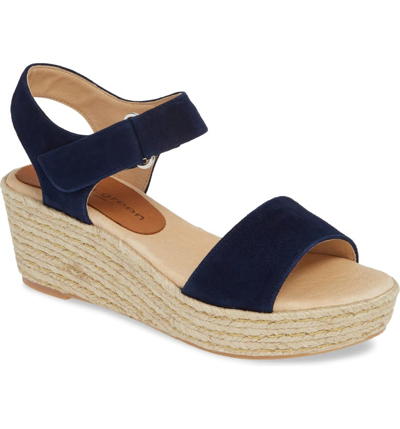 PATRICIA GREEN Corie Espadrille Wedge Sandal, Main, color, NAVY LEATHER
