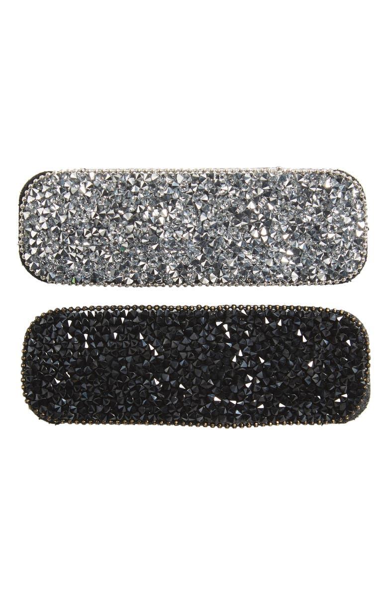 TASHA 2-Pack Large Sparkle Hair Clips, Main, color, SILVER/ GUNMETAL
