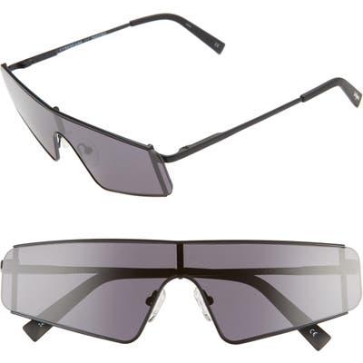 Le Specs Cyberfame 14m Flat Top Shield Sunglasses - Matte Black/ Smoke