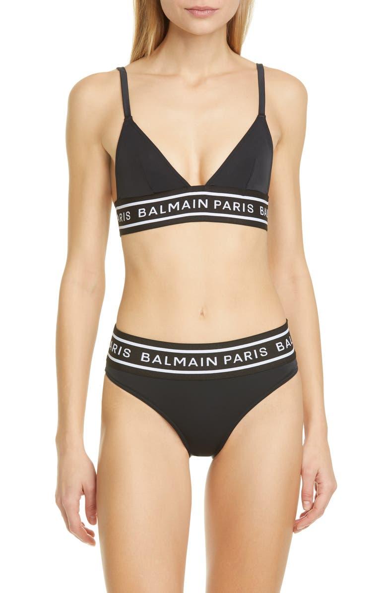 BALMAIN Logo Band Two-Piece Bikini, Main, color, BLACK