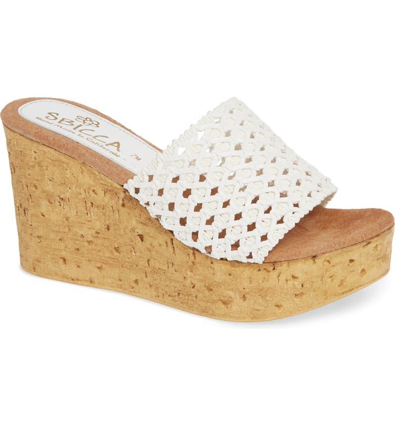 SBICCA Monat Platform Wedge Sandal, Main, color, WHITE LEATHER