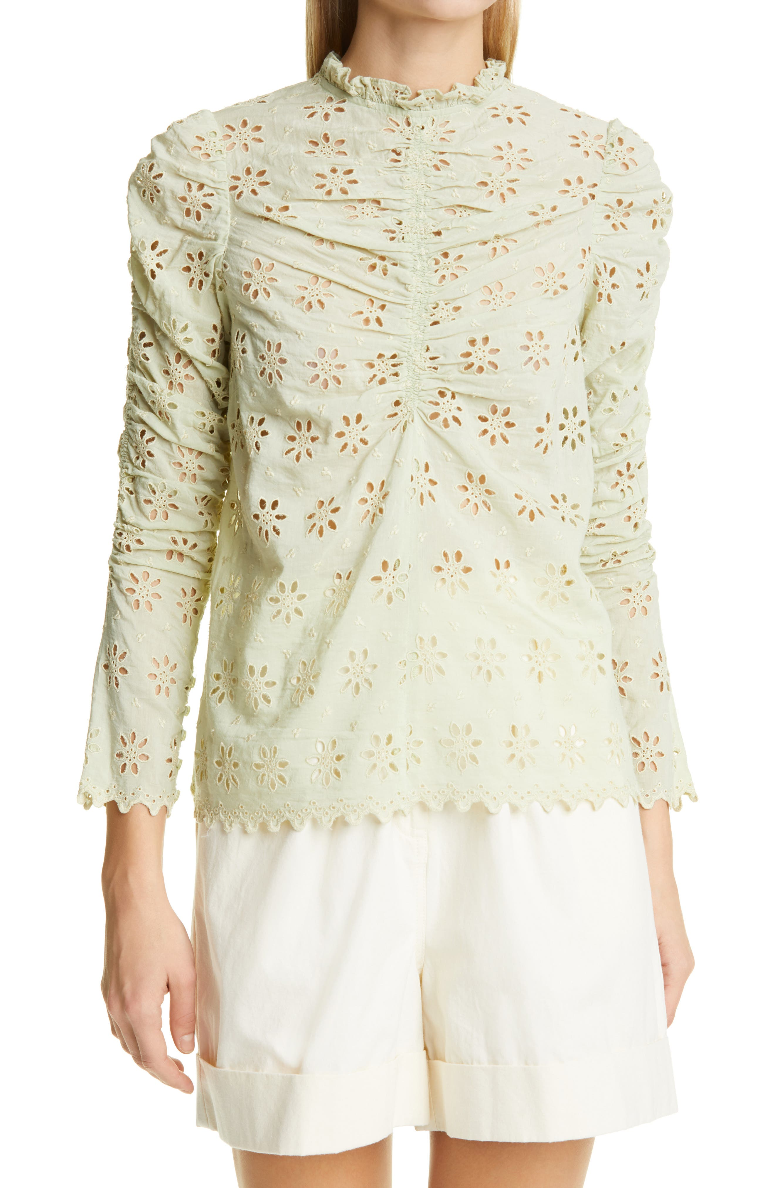Broderie Anglaise Ruched Blouse