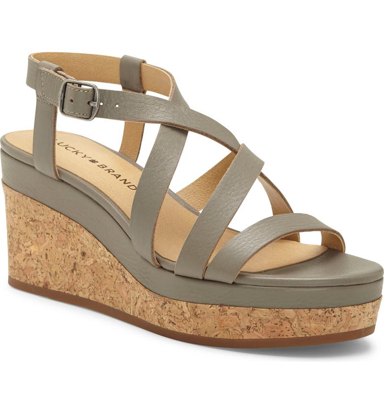 LUCKY BRAND Batikah Strappy Wedge Sandal, Main, color, DRIFTWOOD LEATHER