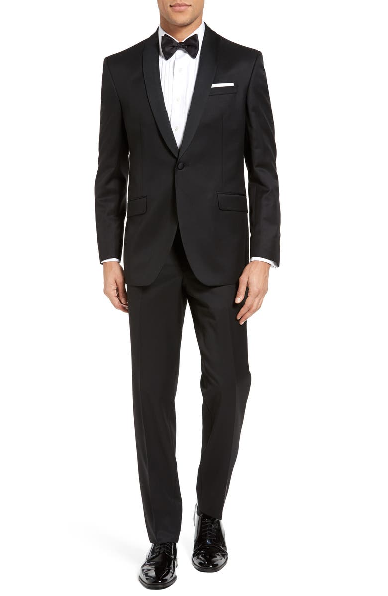 TED BAKER LONDON Josh Trim Fit Wool & Mohair Tuxedo, Main, color, BLACK