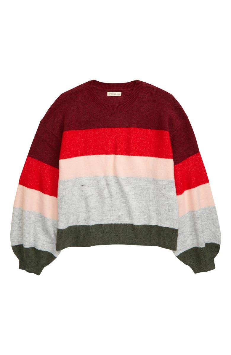 TUCKER + TATE Colorblock Sweater, Main, color, RED TIBETAN MULTI