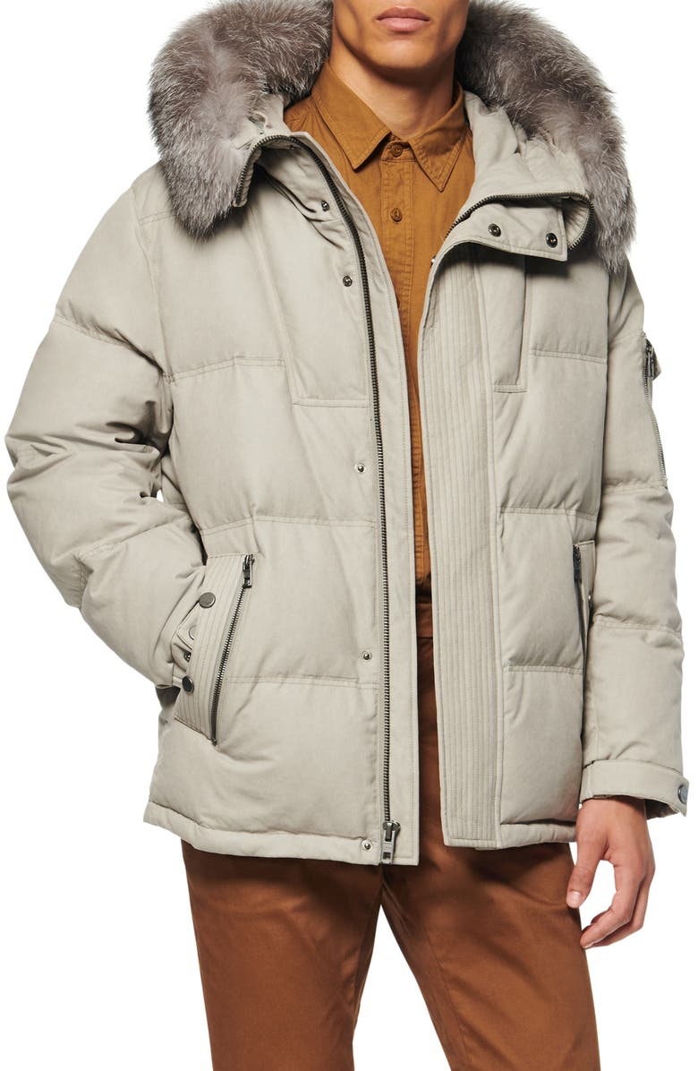 ANDREW MARC Koriabo Down Jacket with Removable Genuine Fox Fur Trim, Main, color, STONE