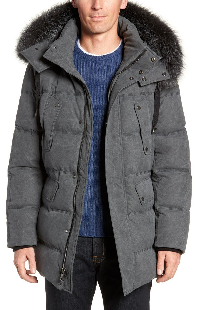 ANDREW MARC Belmont Genuine Fox Fur Trim Down Parka, Main, color, GREY