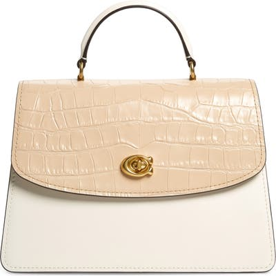 Coach Parker 32 Colorblock Leather Top Handle Bag - Beige