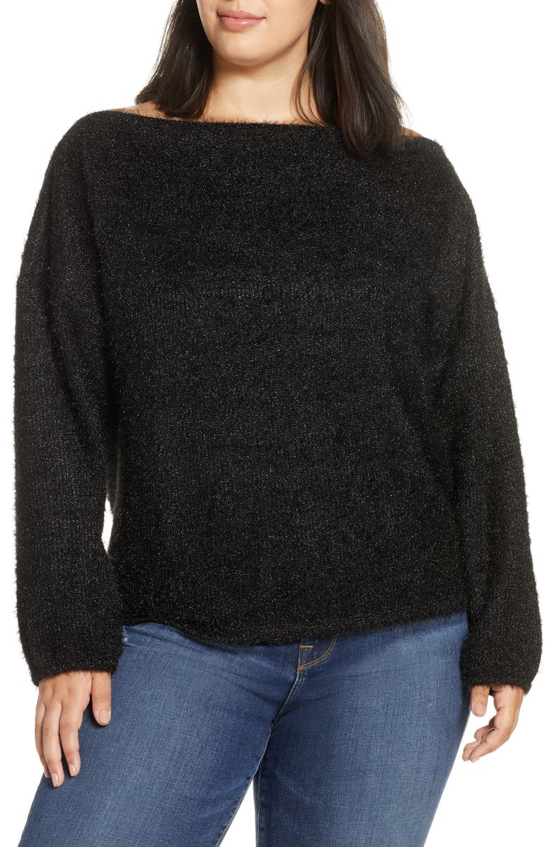 GIBSON x Glam Blushing Rose Anna Off the Shoulder Soft Holiday Sweater, Main, color, BLACK