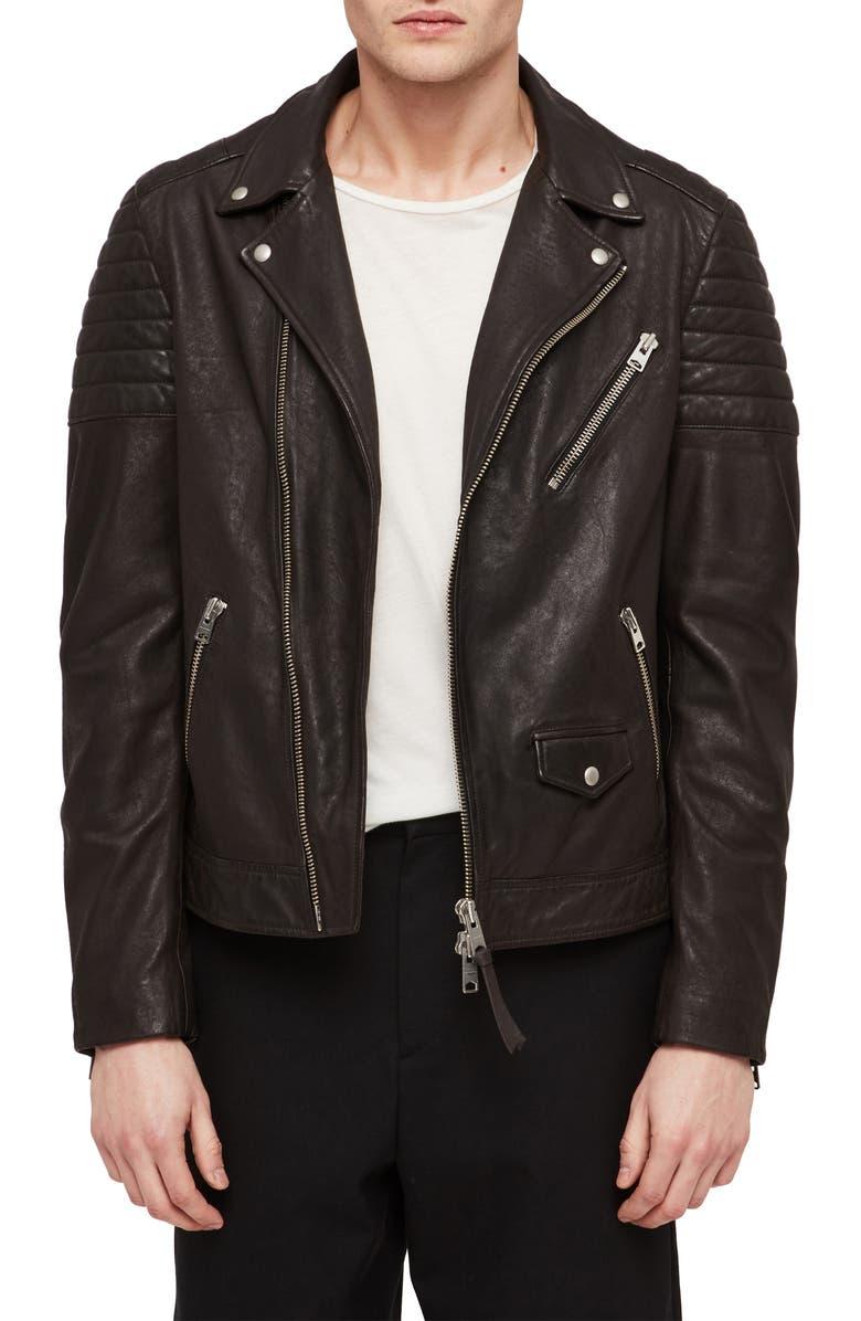 ALLSAINTS Leo Leather Biker Jacket, Main, color, ANTHRACITE