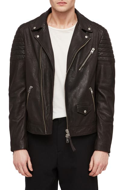 Allsaints Leo Leather Biker Jacket In Anthracite
