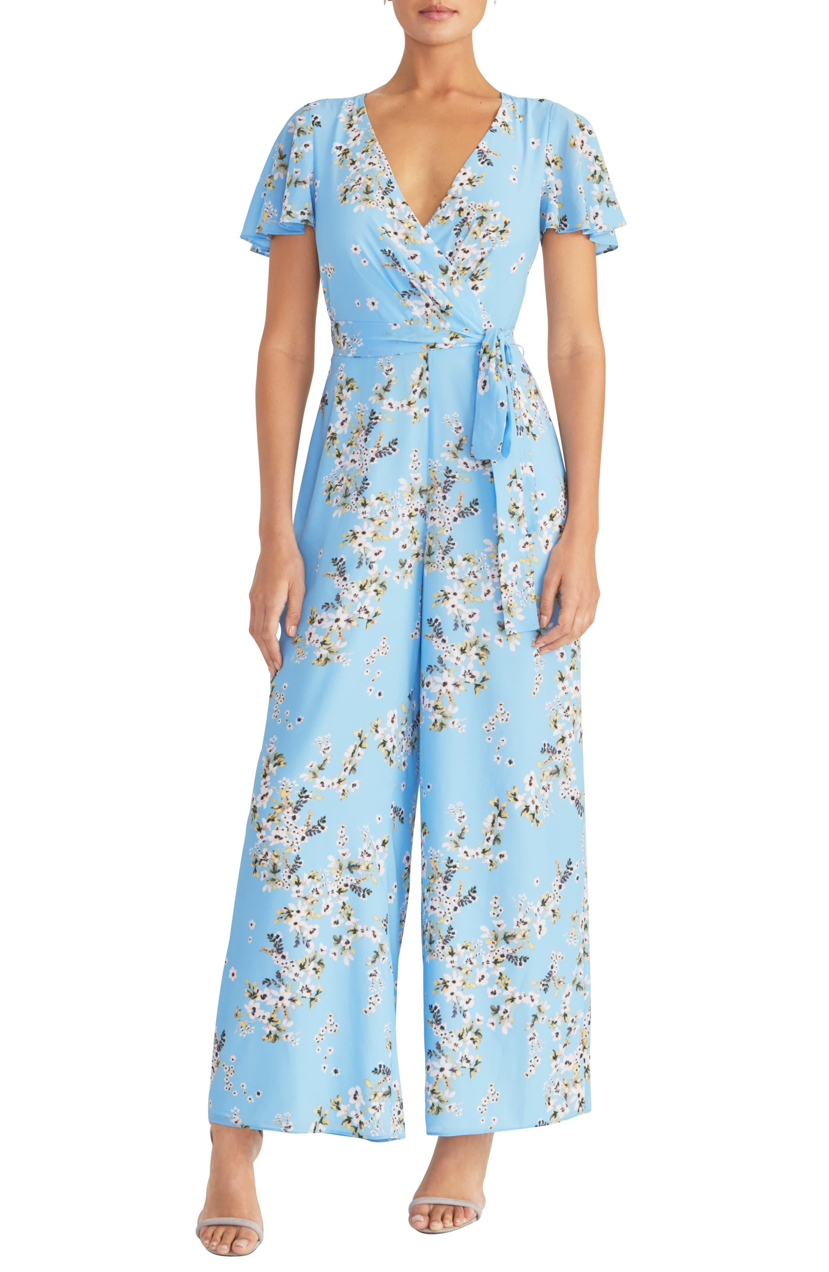 1930s Wide Leg Pants and Beach Pajamas Womens Rachel Rachel Roy Floral Tie Waist Jumpsuit $149.00 AT vintagedancer.com