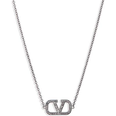 Valentino Vlogo Pave Pendant Necklace