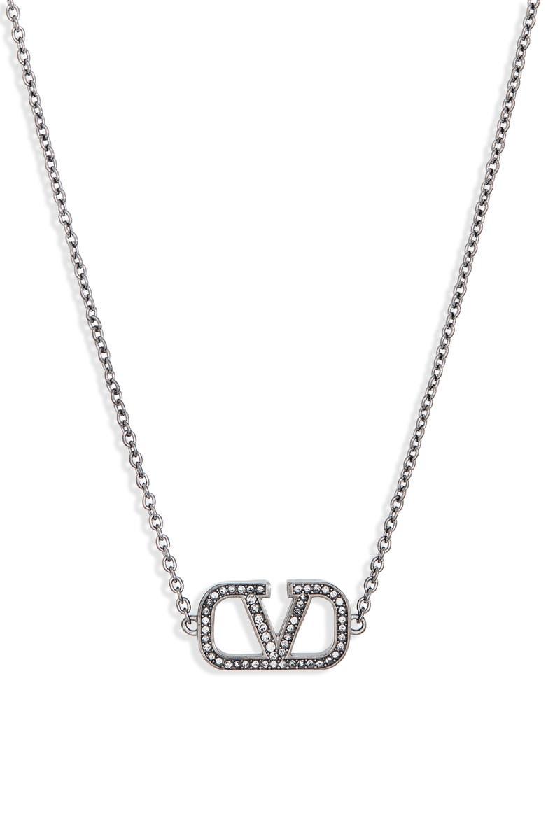 VALENTINO VLOGO Pavé Pendant Necklace, Main, color, BLACK
