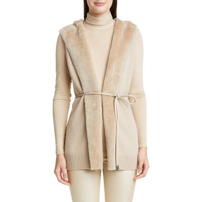Lafayette 148 New York Wool & Cashmere Vest With Genuine Shearling Trim, Beige