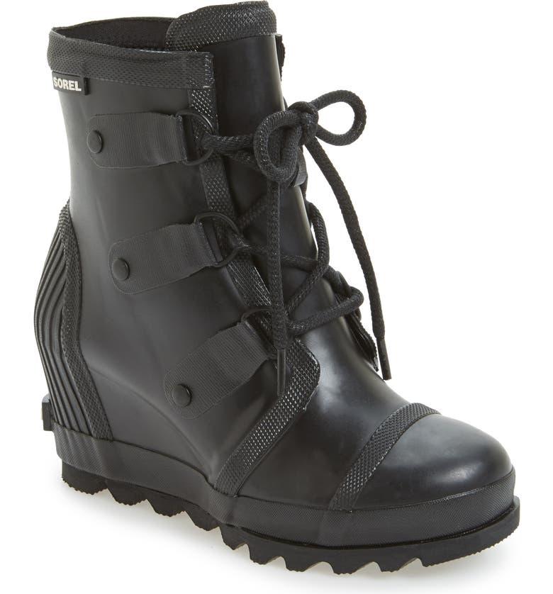 SOREL Joan Wedge Rain Boot, Main, color, 010