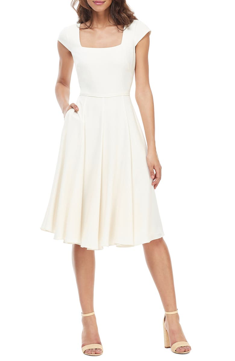 GAL MEETS GLAM COLLECTION Regina Square Neck Fit & Flare Dress, Main, color, CREAM