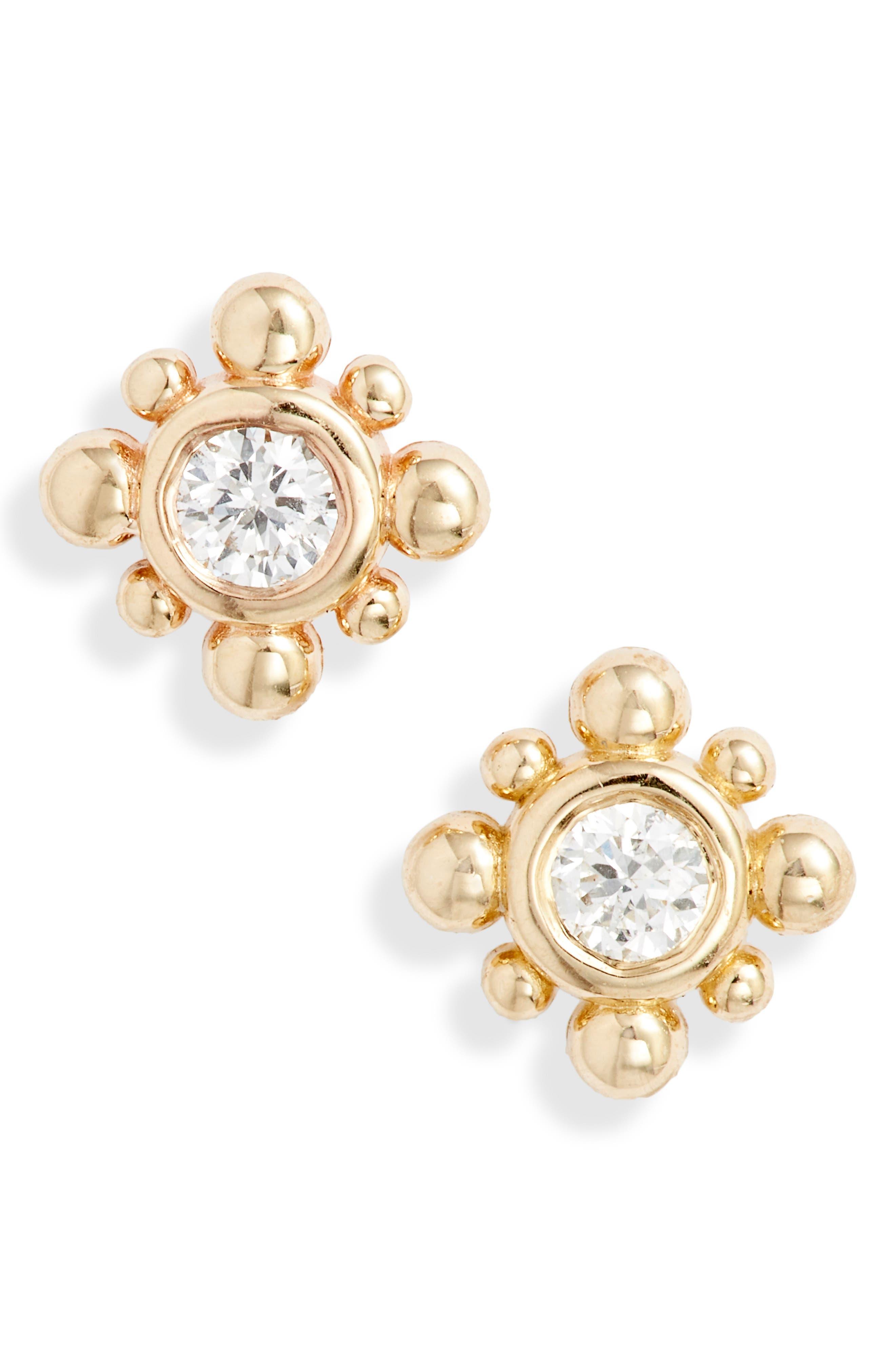 Zoe Chicco Tiny Bead Starburst Diamond Stud Earrings