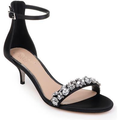 Jewel Badgley Mischka Dash Embellished Halo Strap Sandal, Black