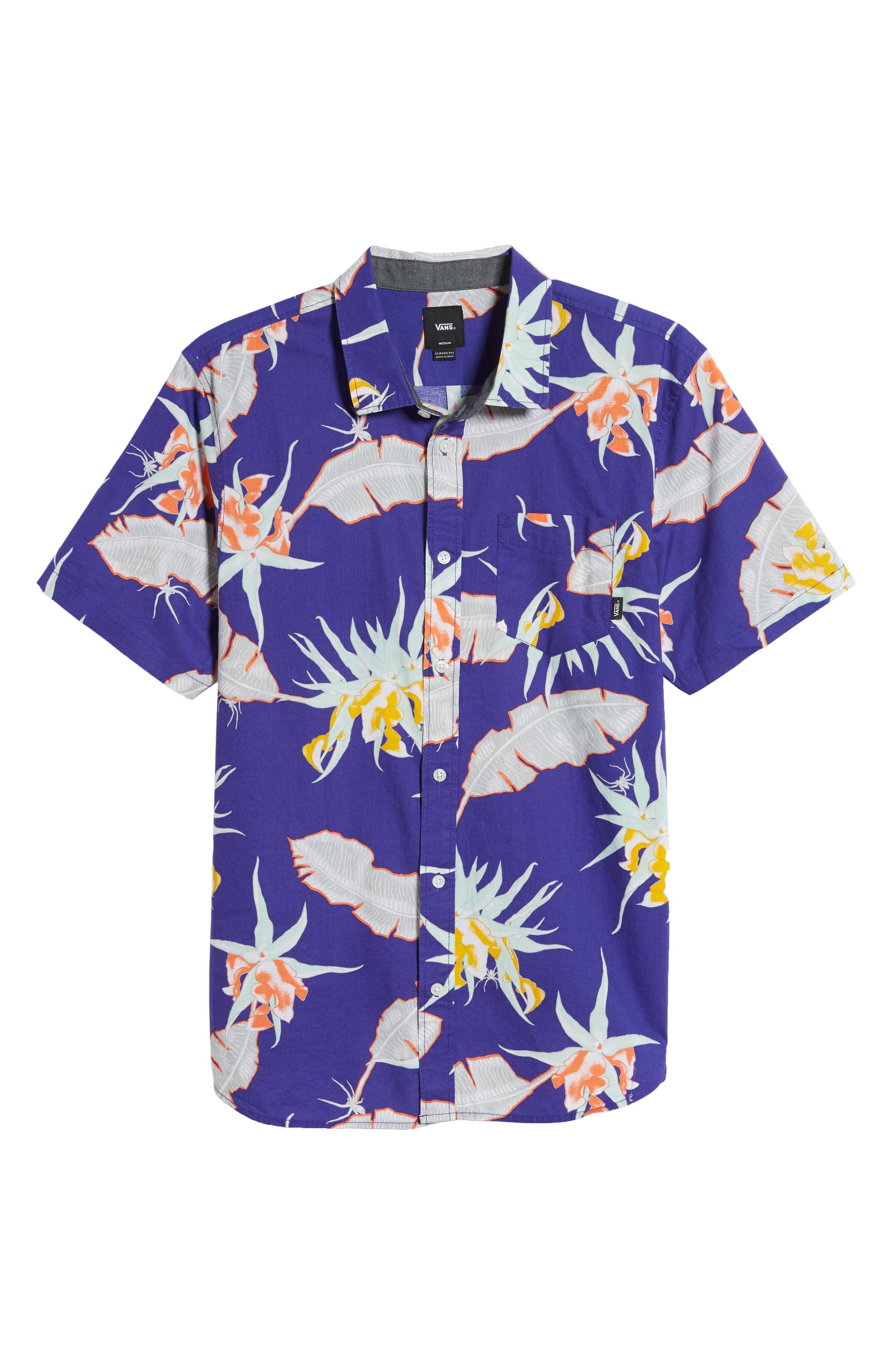 ,                             Arachnofloria Print Shirt,                             Alternate thumbnail 5, color,                             VANS PURPLE
