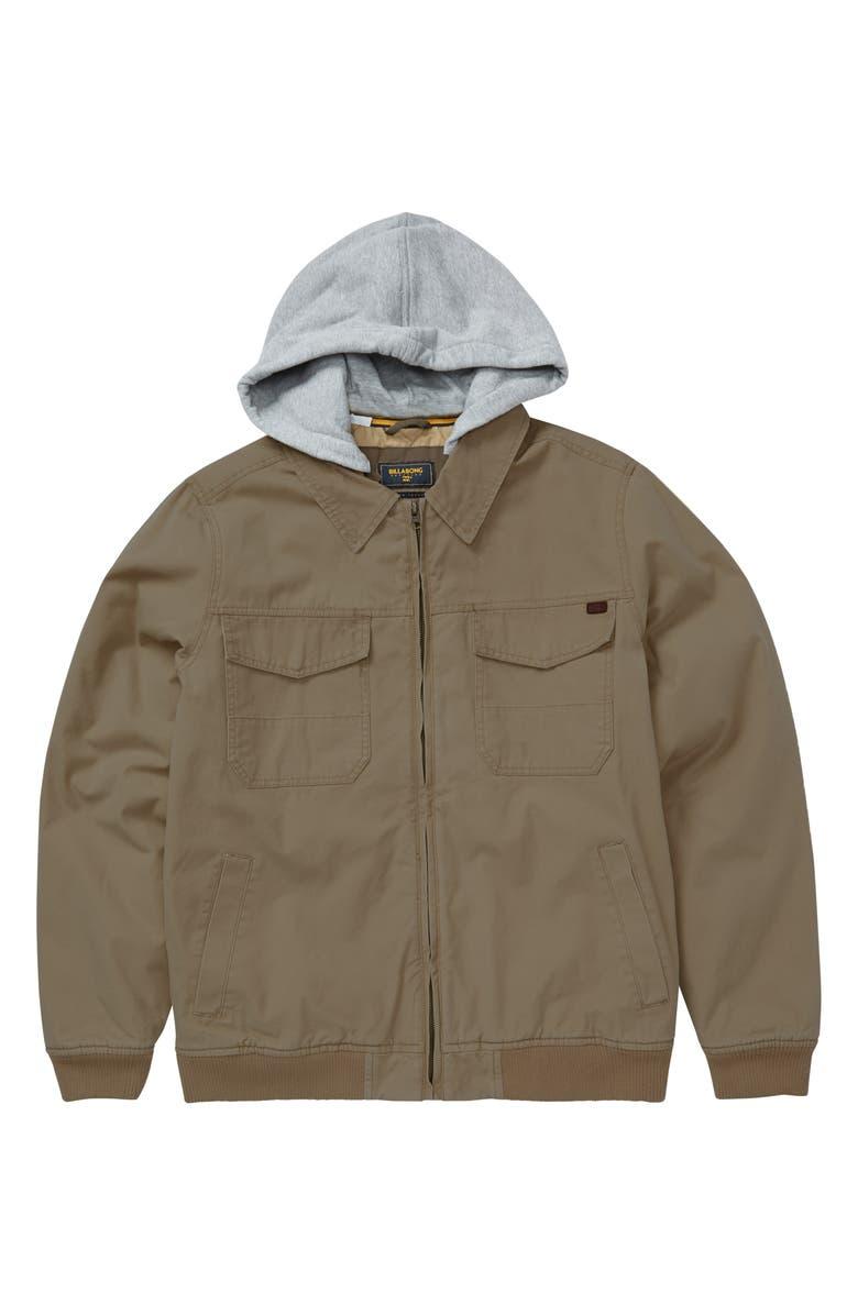 BILLABONG Barlow Twill Hooded Jacket, Main, color, GUM