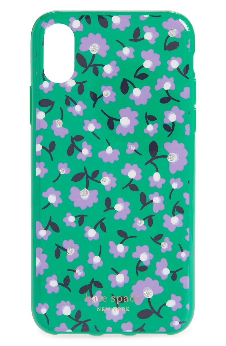 KATE SPADE NEW YORK jeweled party floral iPhone X/Xs case, Main, color, GREEN MULTI