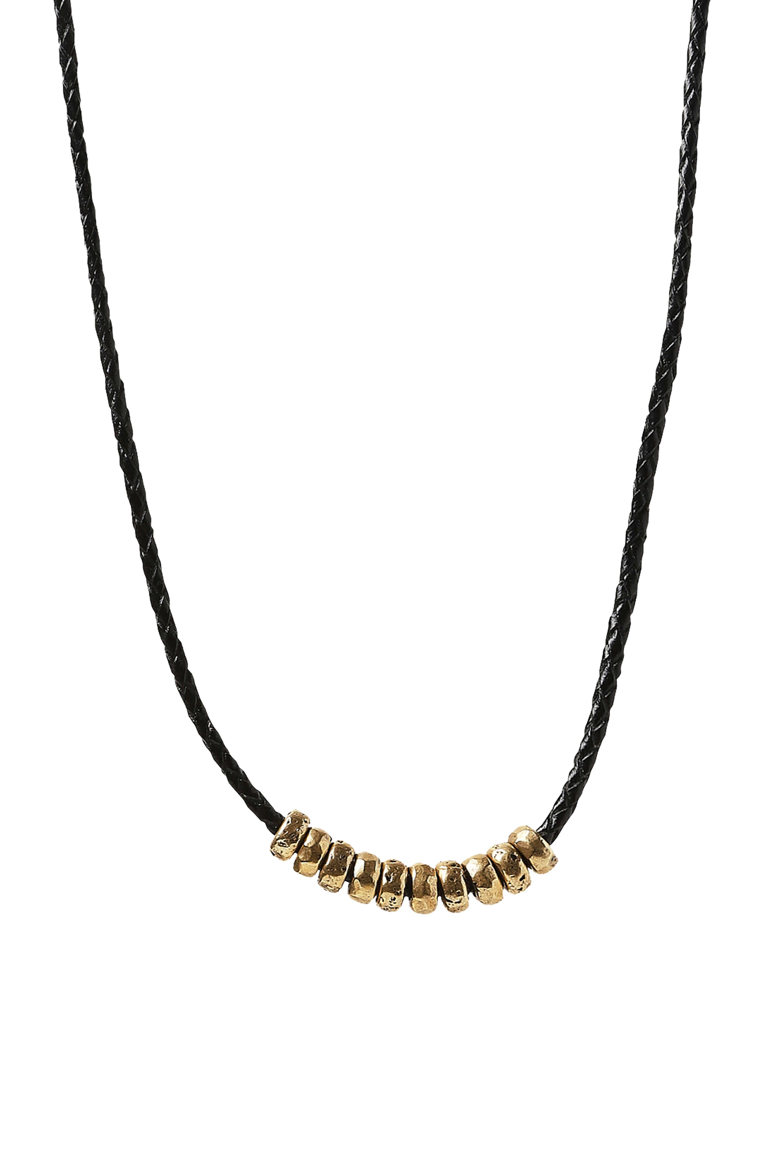Frontal Bead & Braided Leather Necklace