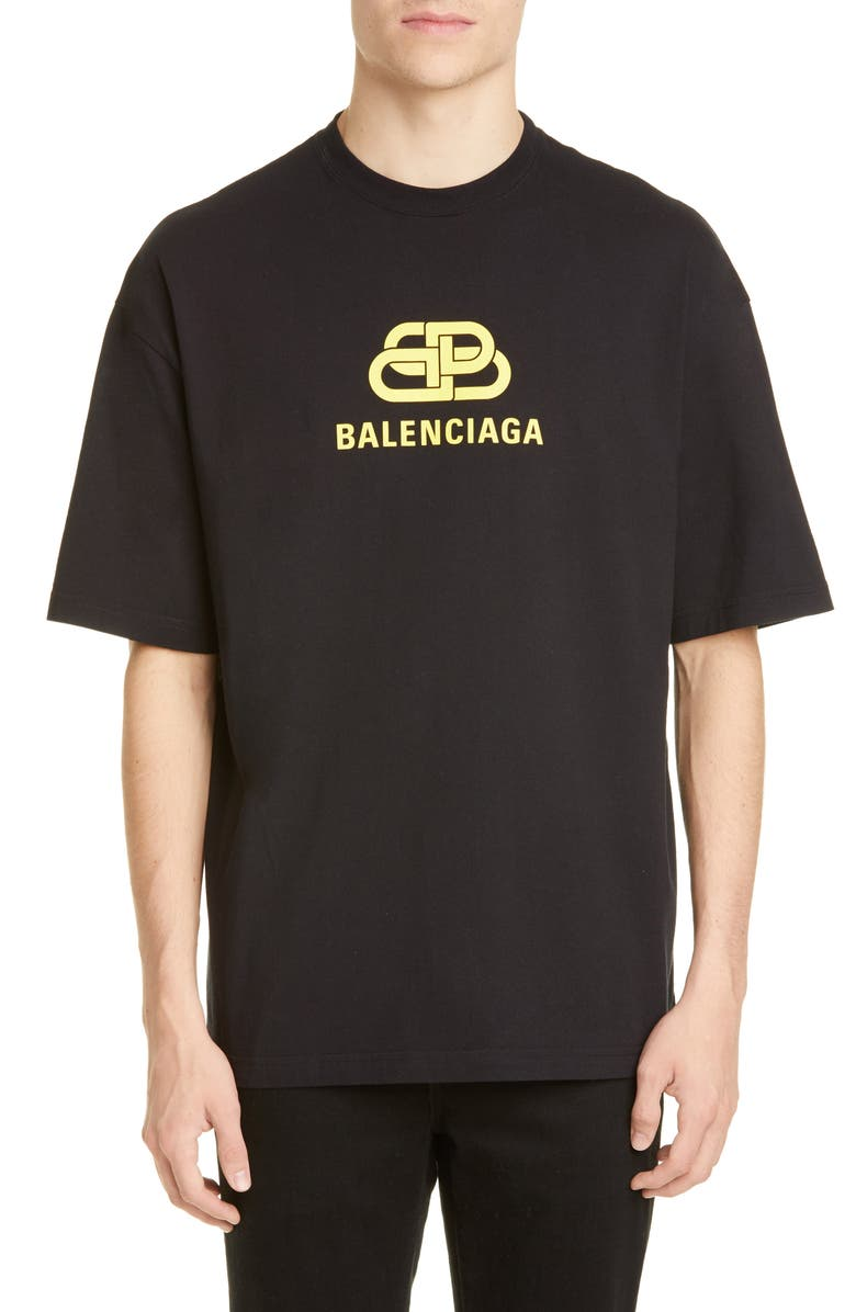 BALENCIAGA BB Graphic T-Shirt, Main, color, BLACK YELLOW