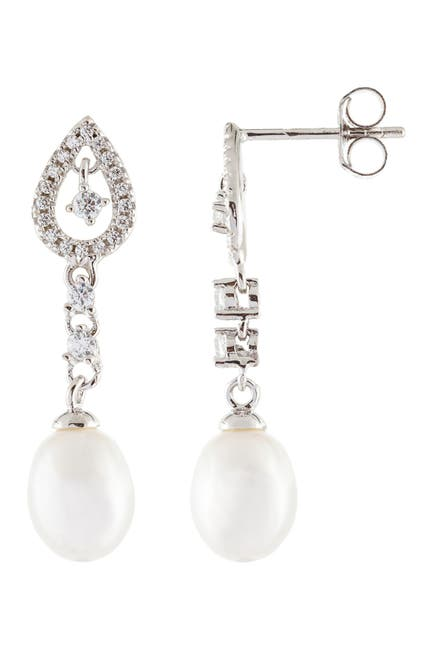 Image of Splendid Pearls 7-7.5mm Cultured Freshwater Pearl & CZ Drop Earrings