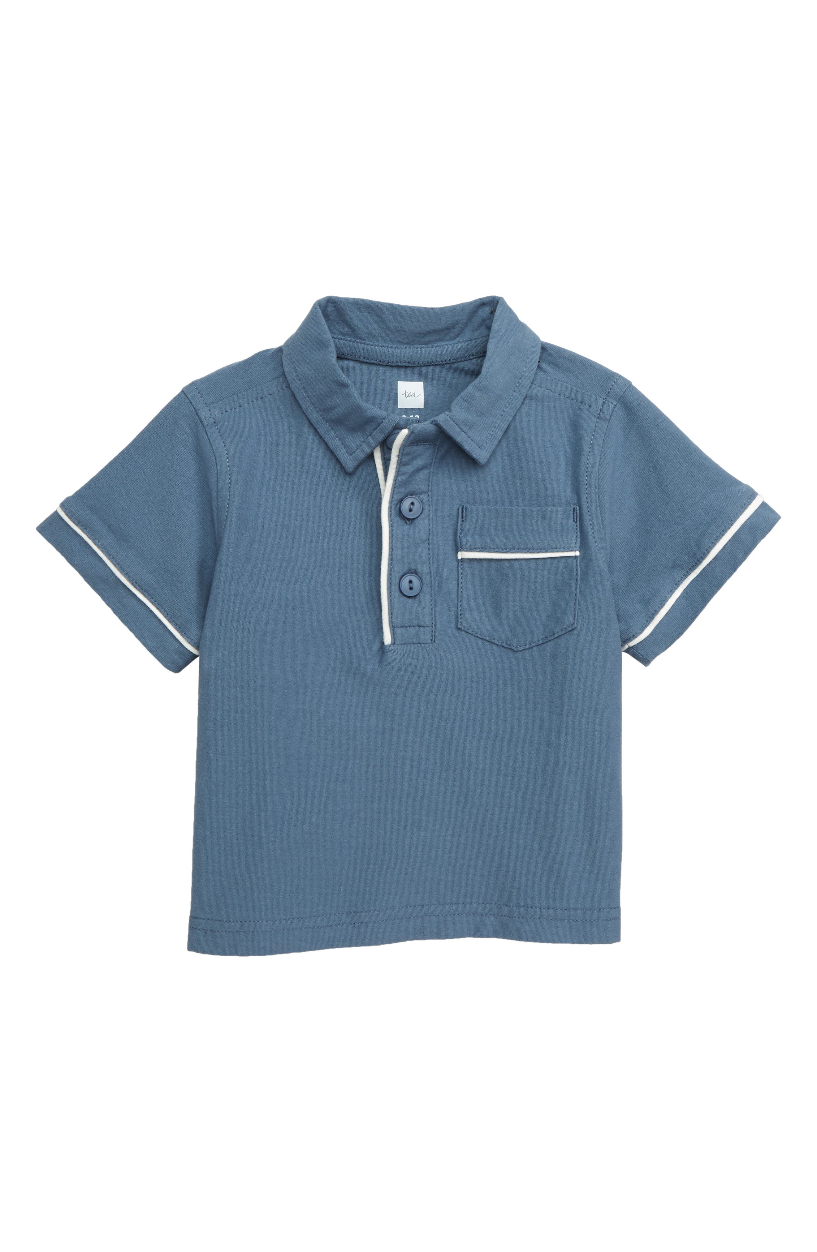 Piped Polo, Main, color, CORNFLOWER