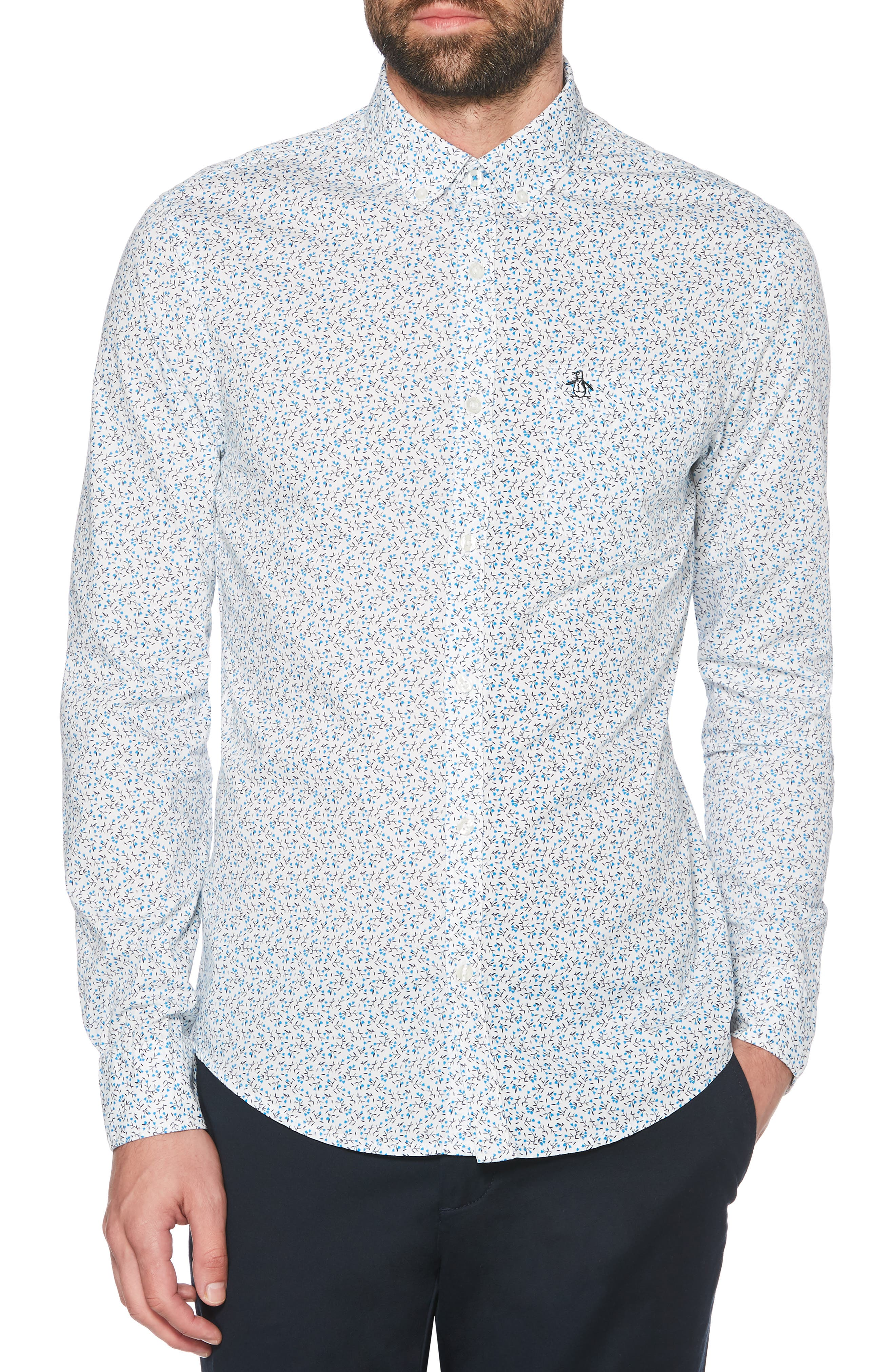 ,                             Ditsy Floral Slim Fit Sport Shirt,                             Main thumbnail 1, color,                             BRIGHT WHITE