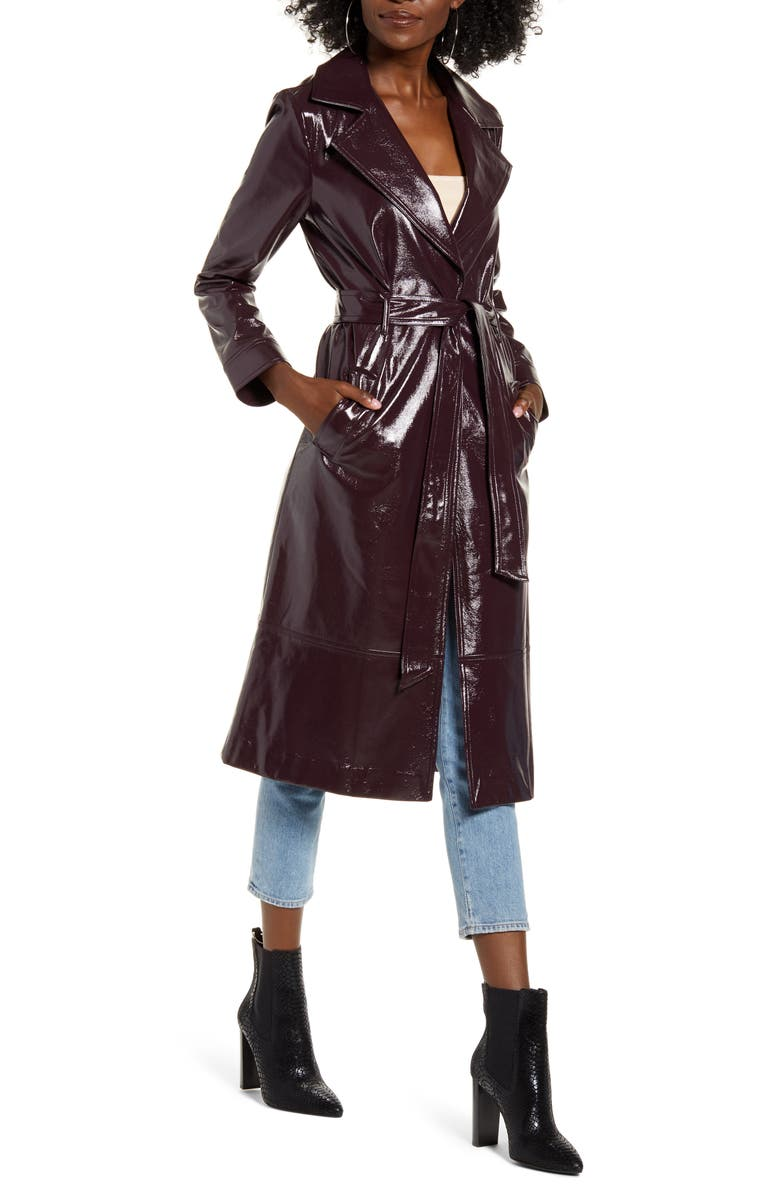 LEITH Faux Patent Leather Trench Coat, Main, color, BURGUNDY FUDGE