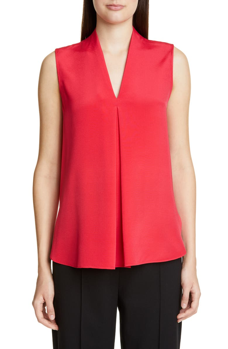 ST. JOHN COLLECTION Stretch Silk V-Neck Shell, Main, color, SCARLET