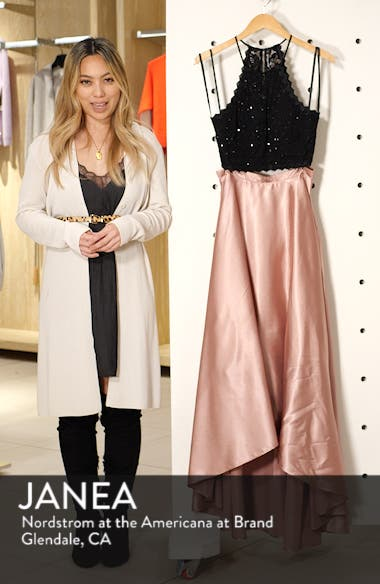 Glitter Lace & Satin High/Low Two-Piece Evening Dress, sales video thumbnail