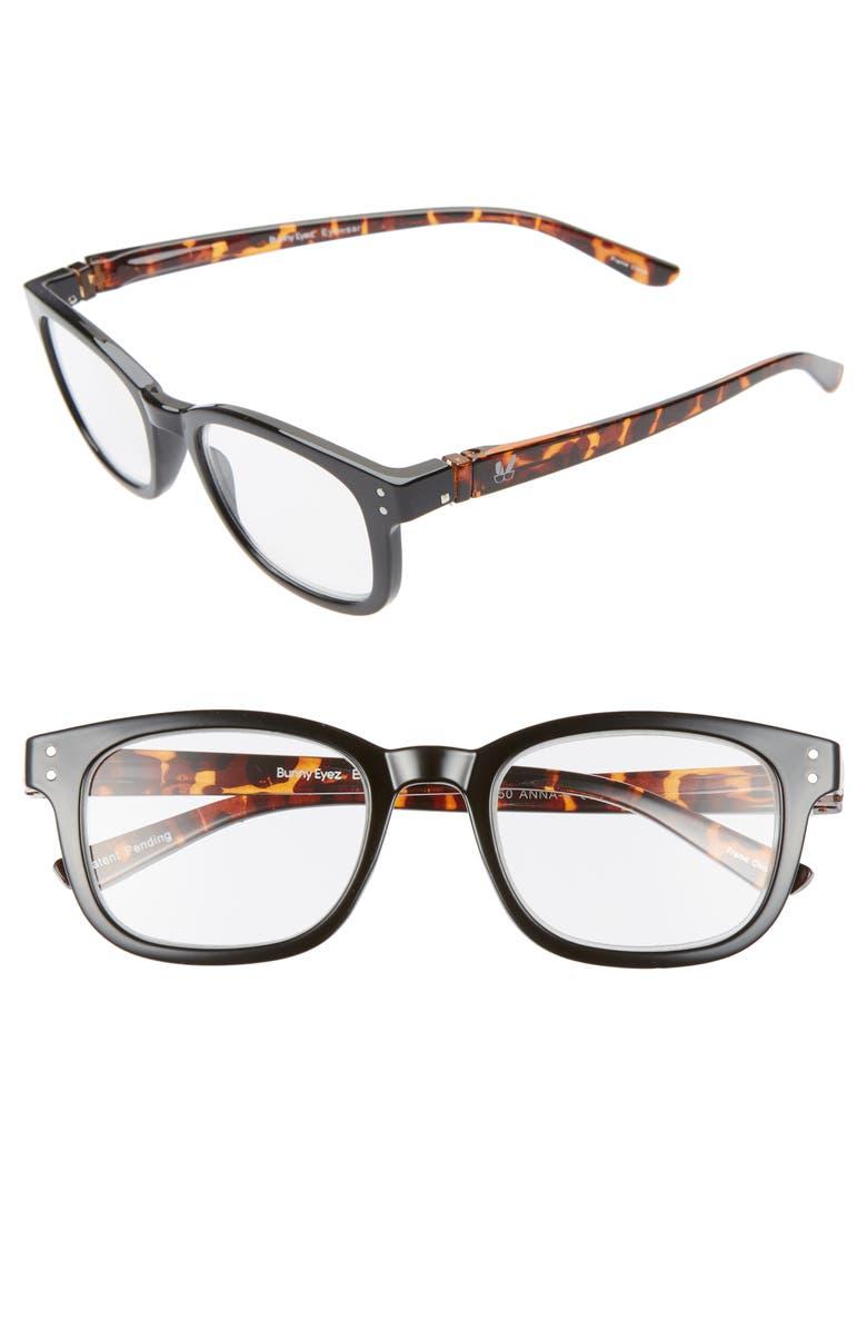 BUNNY EYEZ The Anna 49mm Reading Glasses, Main, color, JET BLACK/ TORTOISE